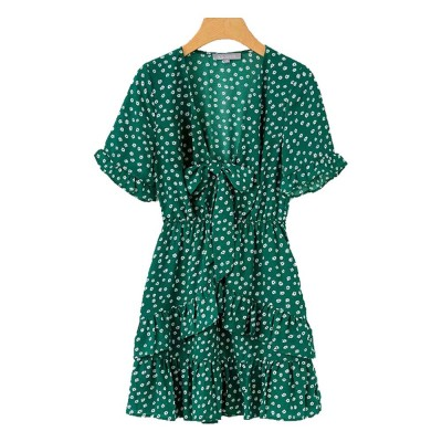 Women Summer Mini Dress, Ruffle Sleeve Floral Print V-neck Dress, High Waisted A Line Beach Dresses for Women