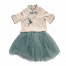 Baby Girls' Ethnic Sets Two-Piece Improved Hanfu Traditional Costume Stand Collar Embroidered Tops + Skirt