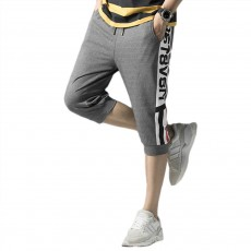 Men's Cotton Casual Shorts, Jogger Capri Pants, High Breathable Summer Short Pants with Drawstring Pockets