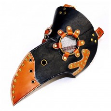 Steampunk Plague Doctor Bird Mask Long Nose Beak PU Leather Mask for Cosplay Halloween Christmas Costume Props