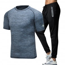 Men's 2-Piece Sports Outfit, Sport Casual Short Sleeve Tops + Short Pants, Men's Sports Tracksuit