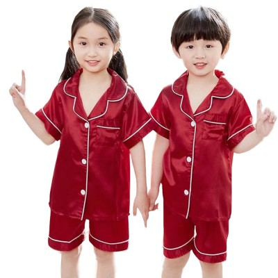 Summer Minimalist Pajamas Suit for Boys Girls, Open Shirts and Lapels Nightclothes, Silk-like Household Suit