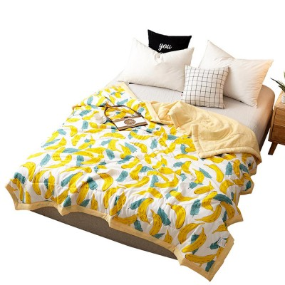 2019 New Hot Summer Cool Quilt for Children & Student, Soft Animal & Plant & Fruit Pattern Printing Quilt, Washable Double Blanket