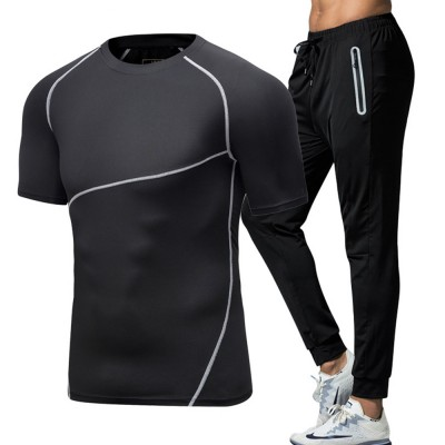 Men 2 Pieces Sports Suits, O-neck Slim Fit Workout Short Sleeve Sports T-short Cropped Pant with Zipper Pockets