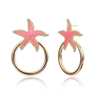 Starfish Earrings with Big Ring, Lovely Ocean Star Post Earring, Fashionable Earring for Girls Women Lady