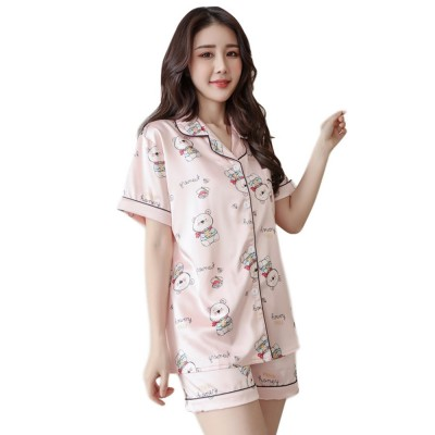 Women Summer Pajamas, Open-top Lapel Silk-like Short Sleeves, Printed Household Clothing for Lady Girl