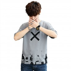 Men's Casual T-shirt, Short Sleeve Men's Tees, Fashion Stretch Creative Pattern Quick-dry T-shirts for Men
