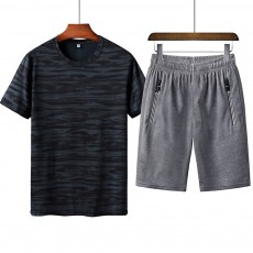Men's 2-Piece Sports Sets, Quick-dry Sport Outfits, Casual Short Sleeve Tops + Short Pants Tracksuit for Men