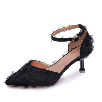 Fine-heeled Pointed High-heeled Shoes, Easy Marching One-word Button Middle Heels, Women's Hollow Sandals