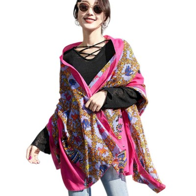 Women Printing Scarves Large Sunscreen Shawl Beach Cover-up Fashion Accessories Best Gifts for Women
