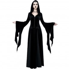 Women Gothic Halloween Costume, Renaissance Medieval Cosplay Dress Black, Long Sleeve Hooded Witch Dress Victorian Costume