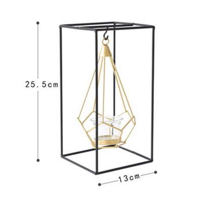 Geometric Candle Holders Modern Hollow Out Metal Iron Hanging Candlestick for Wedding Centerpiece, Table Decorations