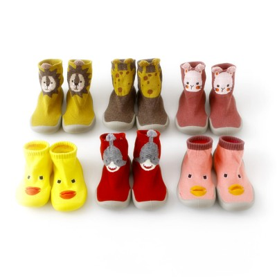 Baby Toddler Walking Shoes Non-skid Socks Rubber Sole Animal Slipper Winter Warm Shoes Socks For Fall Winter Spring