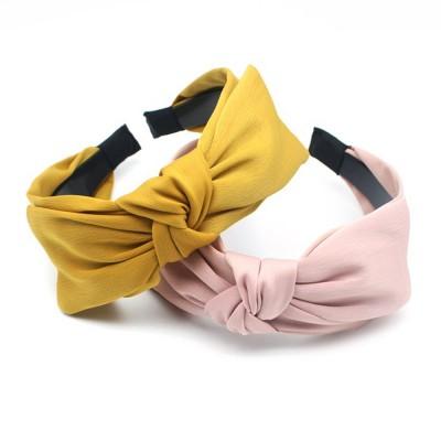 Bow Knot Headbands Pure Color Elastic Head Wrap Twist Knot Hairbands Cross Wide Headbands for Women