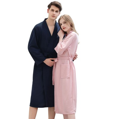 Waffle Kimono Robes Knee Length Comfortable Soft Bath Robes Spa Pajamas Sleepwear for Women Men