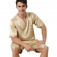 Men's Luxury Silk Sleepwear Comfortable Short Sleeve Top +Shorts Pajamas Set Best Gifts for Men
