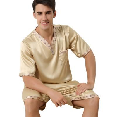 Men's Luxury Silk Sleepwear Comfortable Short Sleeve Top +Shorts Pajamas Set Best Gifts for Men