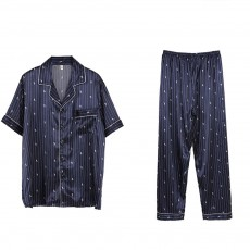 Men's Luxury Silk Sleepwear Short Sleeve Top+Long Pant Pajamas Set Soft Loungewear Men Gifts for Summer Wear