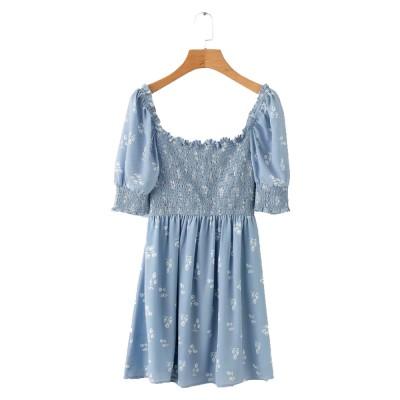 One Piece French Style Women Dress Pleated &High Waist Knee Length Summer Dress Ruffle Sleeve Dress for Women's Gifts