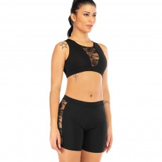 Women Two Pieces Outfit Lace Splicing Workout Set Polyester Tank Crop & Top Short for  Leisure Sport