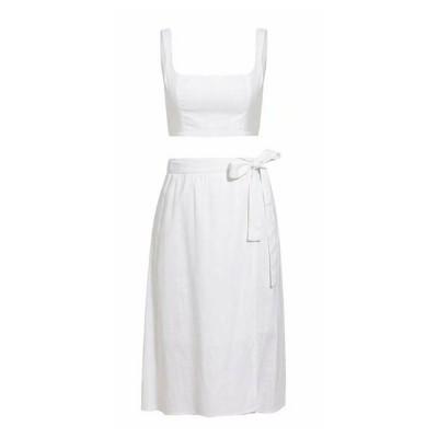 Vest Skirt Set for Women in Summer, 2 Pcs Short Square Neckline Vest and Midiskirt with Stylish Waist Strap