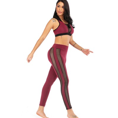 Women Jogging Sport Suit Workout Set Gauze Splicing Stretchy Comfortable 2 Pieces Suits Breathing High Waist Pant & Top Athletic Outfit