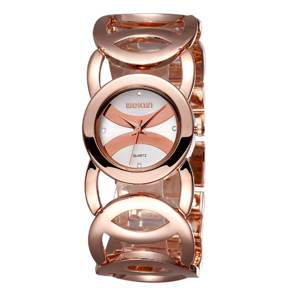 Women Fashionable Chain Bracelet Watch without Readings Hollow Style Wristwatch with Drills