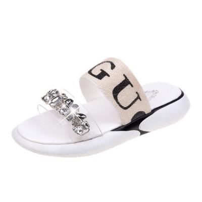 Women Summer Flat Slippery PU Rubber Comfortable Shoe Clear Diamond Elastic Strap Platform Shoe