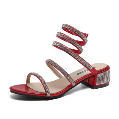 Women Sandals With S-shaped Strap PU Rubber Diamond Shoe Fashionable Thick-Heel Open Toe Shoe