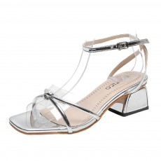 Medium-Height Thick Heel Scandal Transparent Fashion Cross Design PU Rubber Open Toe Shoe with Square Head For Women