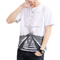 2019 New Style Casual Men's Short Sleeve T-shirt with Round Collar, Fashionable and Durable Cotton Material Top