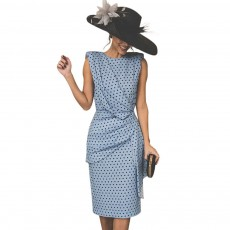Polka Dot Sheath Dress for Women Knee Length, Backless Design Multi-layer Sexy Bag Hip Tight Dress