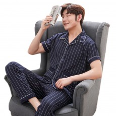 Men Summer Pajamas Set Comfortable Cotton Classic Home Wear Short Sleeve Long Pant Sleepwear