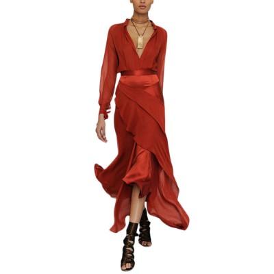 Party Night Dress for Women, Sexy Deep V-neck Long Sleeve Evening Maxi Dress