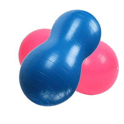Yoga Ball PVC Material Explosion-proof Peanut Shape Training Fitness Thickness Nozzle with Pump Plug Air Pulling Massage Ball for All Ages People