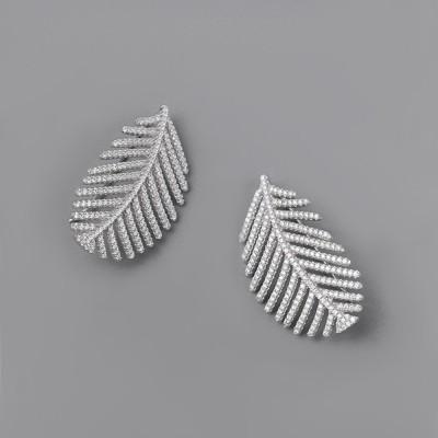 6ad0a3cb189bf Sparkling Diamond Leaves Stud Earring 925 Pure Silver Simple Little Fresh  Sweet Earrings Korean Design Stud 2019 New Earrings
