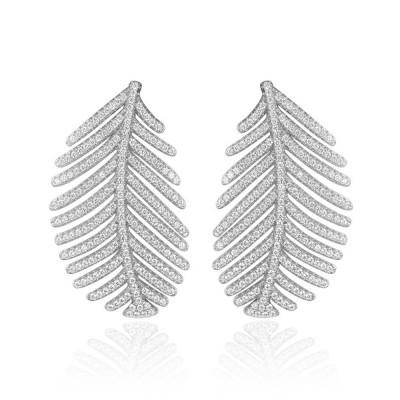 Sparkling Diamond Leaves Stud Earring 925 Pure Silver Simple Little Fresh Sweet Earrings Korean Design Stud 2019 New Earrings