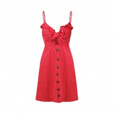Female Halter Dress with Dotted Print Cotton Fabric Sleeveless High Waist A-line Dress for Women