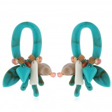Coral Shell Earrings Plastics Zinc Alloy Material Ear Pendant Exaggerated Style Fashionable Ear Stud
