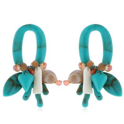 Coral Shell Earrings Plastics Zinc Alloy Material Ear Pendant Exaggerated Style Fashionable Ear Stud