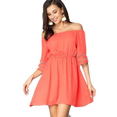 Women Off Shoulder Dress with Tight Waist, Medium Sleeves Dress, A Line Skirt Knee Skirt