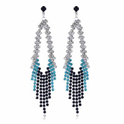 Women Tassel Earring Zinc Alloy Material Decoration Diamond Setting Process Jewelry Allergy-resistant Ear Pendant
