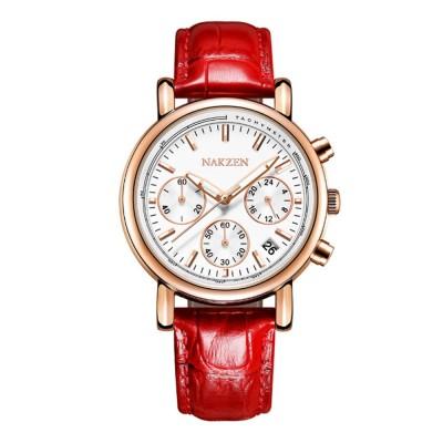 Fashion Women Watch Japanese Quartz Movement Wrist Watch with Calendar Genuine Leather Watch Strap Quartz Watch