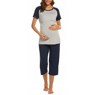 Pregnant Women Pajamas Set T-shirt Pure Colour Splicing Breastfeeding Shorts Adjustable Cropped Pants Sleepwear Nursing Nightgown Set