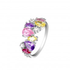Seven-coloured Women's Diamond Ring, Elegant S925 Sterling Silver Ring Jewelry for Europe and America