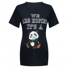 Pregnant Woman T-shirt Cotton Round-neck Multiple Colors Pandas Eat Bamboo Printing 2019 Hot Sales