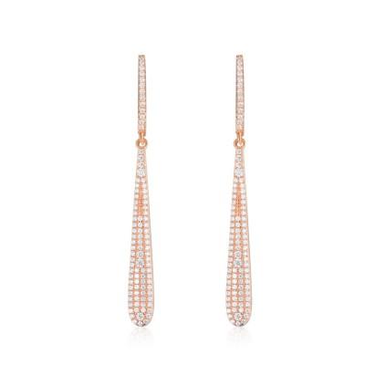 Drip Tassel Earrings Fashion S925 Pure Silver Fairy Concise Retro Zircon Earrings