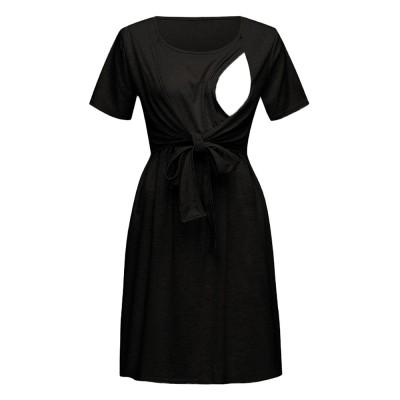 Lady's Nursing Dress Round Neck Soft Cotton Maternity Clothing Dress Fashion 2019 Summer