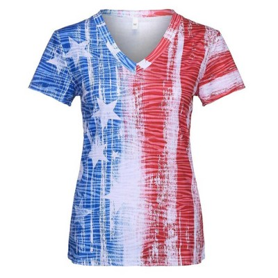 Summer Fashion V-neck Short Sleeves 2019 Women T-shirt Europe America Style Independence Day Flag Printing