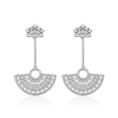 S925 Good Plating Stud Earring with Zircon Micro-inlaid, Small Fragrance Delicate Temperament Fan-shaped Tassel Ear Nails